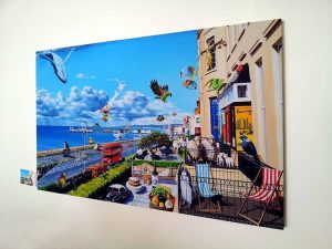 Floating style canvas prints.